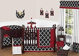 amazon com sweet jojo designs red black and white trellis print