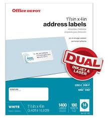 Does Office Depot Make Business Cards Office Depot Brand White Inkjetlaser Address Labels 1 13 X 4 Pack