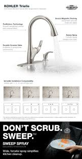 Stainless Kitchen Faucet by Kohler Trielle Single Handle Pull Down Sprayer Kitchen Faucet In