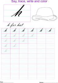 cursive small letter u0027h u0027 worksheet