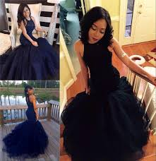 2017 new navy blue prom dresses high neck mermaid style heavy