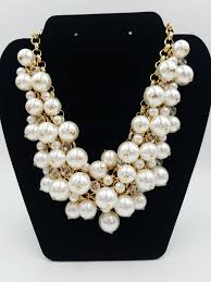 fashion jewelry pearls necklace images Gold crystal pearl cluster necklace funky little peach jpg