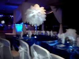 Ostrich Feathers For Centerpieces by White Ostrich Feathers With Mini Feather Balls U0026 Royal Blue Linens