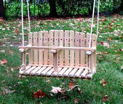 pine double swing kids wooden swing backyard outdoor toys
