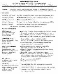 Esl Resume Examples by Esl Instructor Resume Sample