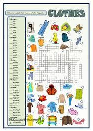 clothes crossword esl worksheets teaching english pinterest