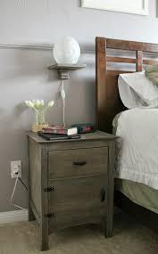 Bedroom Nightstand Ideas Old Bedside Wood Nightstand Table With Floating Lamp Storage And