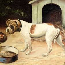 100 boxer dog 19th century oil painting best friends boxer dog and hens from