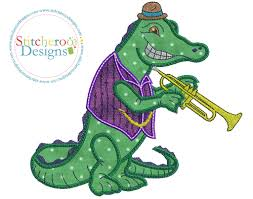 mardi gras alligator mardi gras alligator applique embroidery design by stitcheroo designs