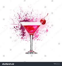 red martini splash pink cocktail hand drawn splash watercolor stock illustration