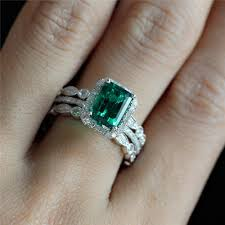 rings emerald images Set of 3 rings bridal set of 6x8mm emerald pave half diamond jpg