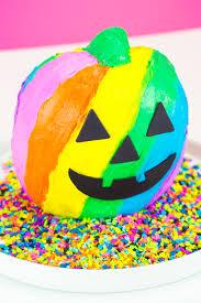lisa frank inspired rainbow jack o lantern cake lisa frank