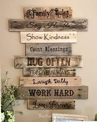 country home wall decor family rules sign personalized large reclaimed wood signs our