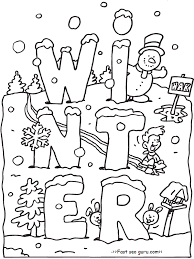 coloring worksheets for kindergarten winter coloring pages ideas