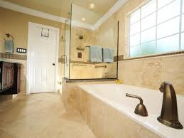 this spacious master bathroom offers an attractive display of