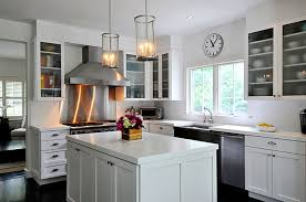 white kitchen cabinets with stainless steel backsplash stainless steel backsplash contemporary kitchen donna