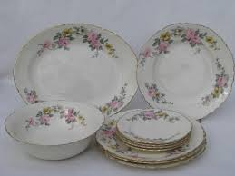vintage china with pink roses vintage homer laughlin china plates for 4 pink roses yellow