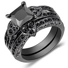 black gold wedding sets carfeny 14k black gold heart shaped black square diamond bridal