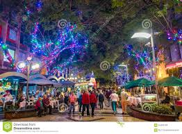 funchal city at night with christmas lights decorations editorial