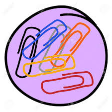 office supplies a cartoon illustration of colorful paper clips