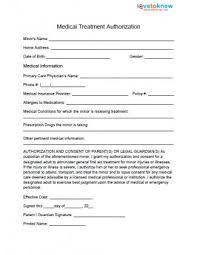 medical waiver form medical treatment authorization medical