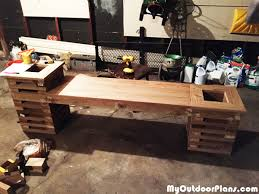 Free Wooden Planter Bench Plans by Diy Bench With Two Planters Myoutdoorplans Free Woodworking