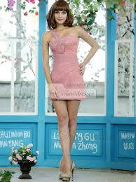 Light Pink Short Bridesmaid Dresses Sensation Sheath Chiffon One Shoulder Short Draped Light Pink