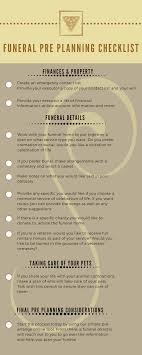 funeral pre planning funeral pre planning checklist