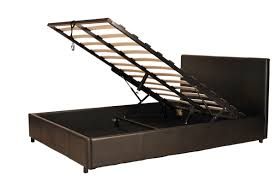 gas lift storage faux leather bed stead in black or brown