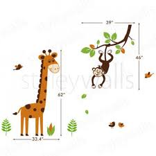 Giraffe Wall Decals For Nursery Jungle Monkey Branch And Giraffe Nursery Vinyl Wall Decal