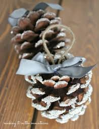 glass glitter pine cones making it in the mountains christmas