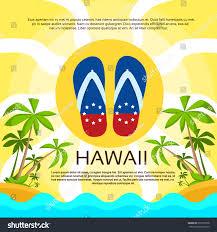 Flags In Hawaii Summer Beach Flipflops Sand Hawaii Flag Stock Vector 297976958
