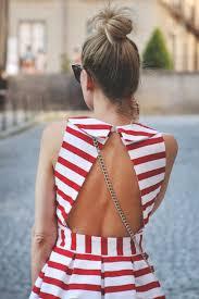 dress red stripes striped dress open back open backed dress