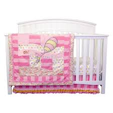 trend lab 3 piece crib bedding set dr seuss pink oh the places