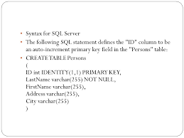 sql create table primary key autoincrement lec 8 sql indexes the create index statement is used to create