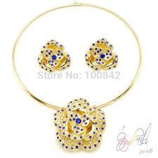 Buy Designer Gold Plated Golden Dubai Golden Jewelry Set Wedding Jewellery Designs Cheap Light