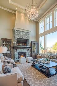 Living Room With High Ceilings Decorating Ideas Decorating A Great Room With Fireplace And High Ceilings High