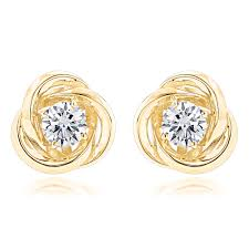 gold studs 14k gold knot diamond earrings solitaire studs 1 4ct