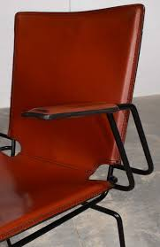 Red Leather Dining Chair Italian Red Leather And Enameled Black Steel Frame Dining Chair