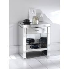 Side Table With Storage by Furniture Grey Mirrored Side Table With Single Drawer And Shelf