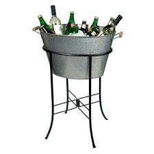 Patio Ice Bucket With Stand by Tablecraft Products Company Beverage Tub Oval Steel 710 Oz