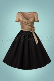 50s gina glamorous tea party dress in gold and black