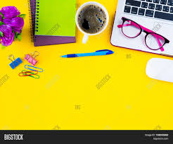 Laptop Desk Accessories by Flat Lay Top View Office Table Desk Frame Feminine Desk Workspace
