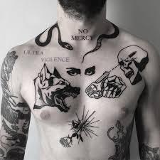 tattoo gun skull snake writing symbol chest tattoo tattoo