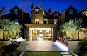 View Of The Modern Terrace And House At Night Terrace Garden - Home and garden designs