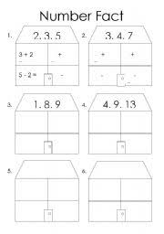 english worksheets number fact families