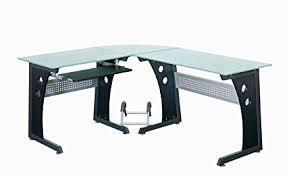 techni mobili black glass corner desk amazon com techni mobili deluxe tempered frosted glass l shaped