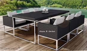 canapé jardin résine table et 6 fauteuils encastrable de qualité en résine tressée