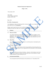 free employment contract roles and responsibilities chart template