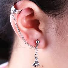 cool ear rings chain dangle earrings skeleton skull pendent cool ear